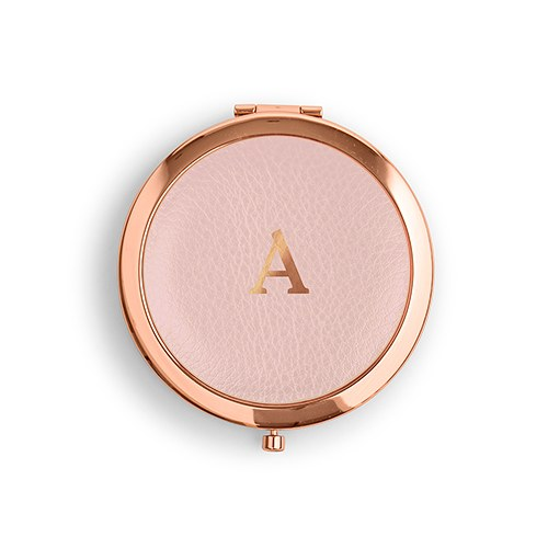 Personalized Engraved Faux Leather Compact Mirrors (6) - Initial Monogram - Sweet Heart Details