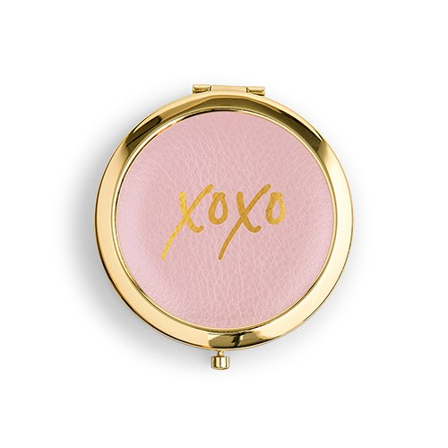 Personalized Faux Leather Compact Mirror - XOXO - Sweet Heart Details