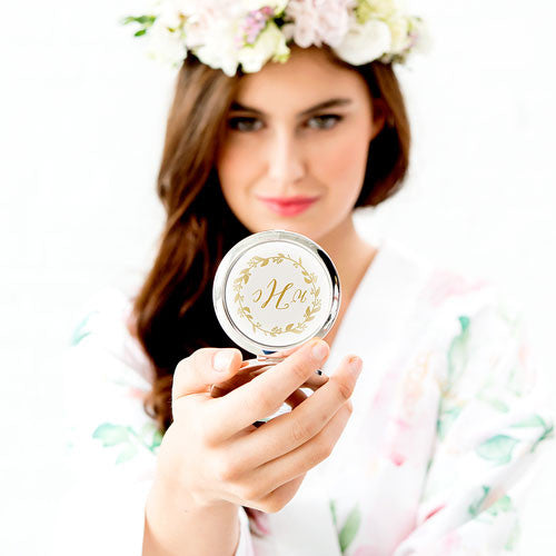 Monogrammed Compact Mirror - Floral Wreath Print