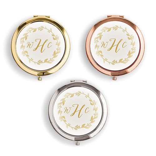 Personalized Monogrammed Compact Mirrors - Wreath Monogram (6)-Bridesmaid Gifts-Wedding Star-4452-55-1084-145-c55-Sweet Heart Details