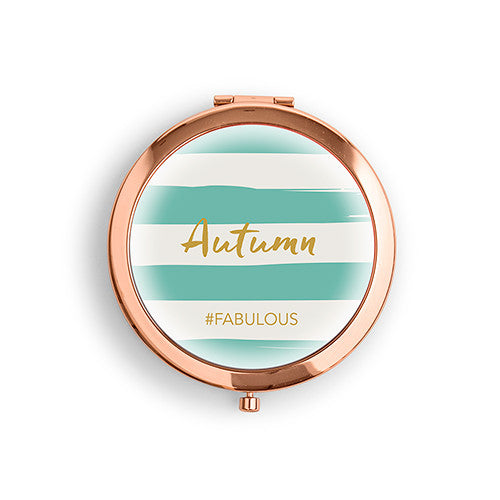 Six Personalized Compact Mirrors (6) - Striped Print w/ Custom Name & Hashtag-Bridesmaid Gifts-Wedding Star-4452-56-8921-145-c10-Sweet Heart Details