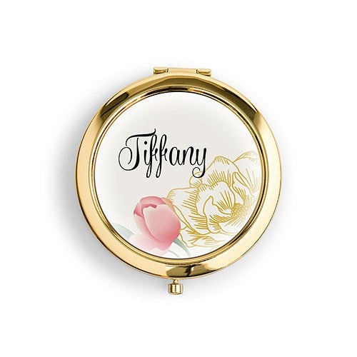 Six Personalized Compact Mirrors - Floral Print (6)-Bridesmaid Gifts-Wedding Star-4452-55-1293-145 check colors-Sweet Heart Details