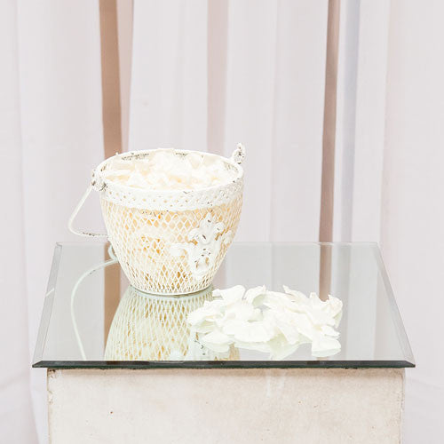 Shabby Chic Metal Flower Basket-Wedding Decorations-Wedding Star-4480-08-Sweet Heart Details