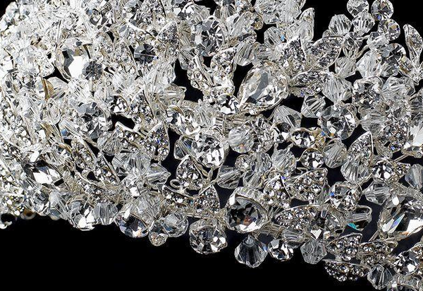 """The Stella"" Crystal & Rhinestone Silver Couture Tiara-Tiaras & Headbands-Wedding Factory-HP-4485-S-CL-Sweet Heart Details"