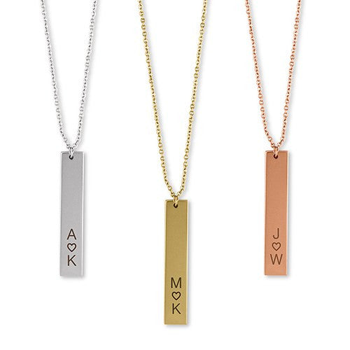 Personalized Vertical Heart Initials Necklace (Gold/Rose Gold/Silver)