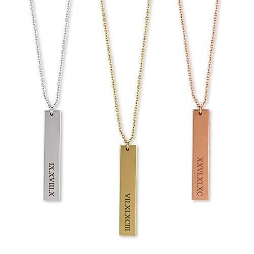 Personalized Vertical Roman Numerals Necklace (Gold/Rose Gold/Silver)