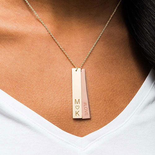 Personalized Vertical Heart Initials Necklace (Gold/Rose Gold/Silver) - Sweet Heart Details