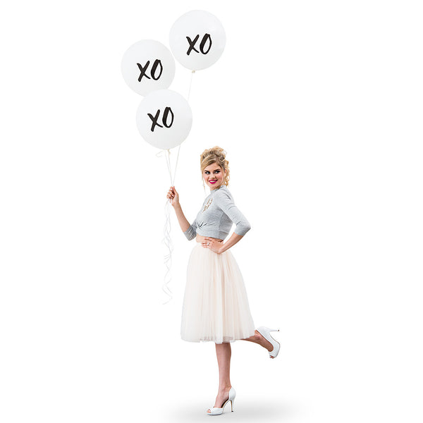 "Black & White ""XO"" Balloons (Large) (Pack of 3)"