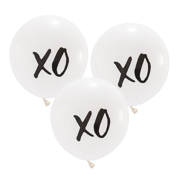 "Black & White ""XO"" Balloons (Large) (12)-Wedding Decorations-Wedding Star-4539-Sweet Heart Details"