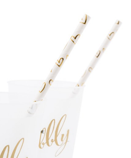 Gold Foil Hearts Paper Drinking Straws (set of 25)