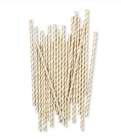 Gold Foil X&Os Paper Drinking Straws (200)-Table Top Items-Wedding Star-4547-55-Sweet Heart Details