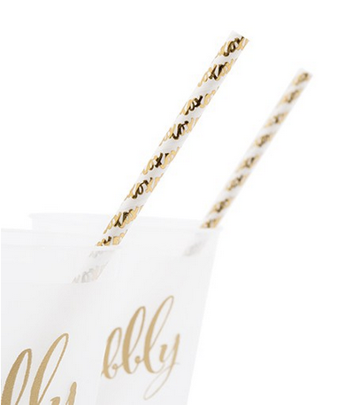 Gold Foil X&Os Paper Drinking Straws (set of 25)
