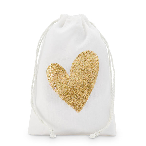 Gold Glitter Heart Muslin Favor Bags - Sweet Heart Details