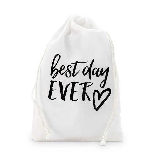 """Best Day Ever"" Muslin Favor Bags (Set of 12) (Medium)"