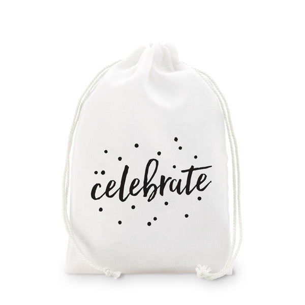 """Celebrate"" Muslin Favor Bags - Sweet Heart Details"