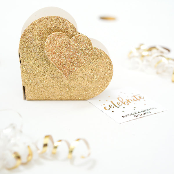 Gold Glitter Double Heart Favor Boxes - Sweet Heart Details