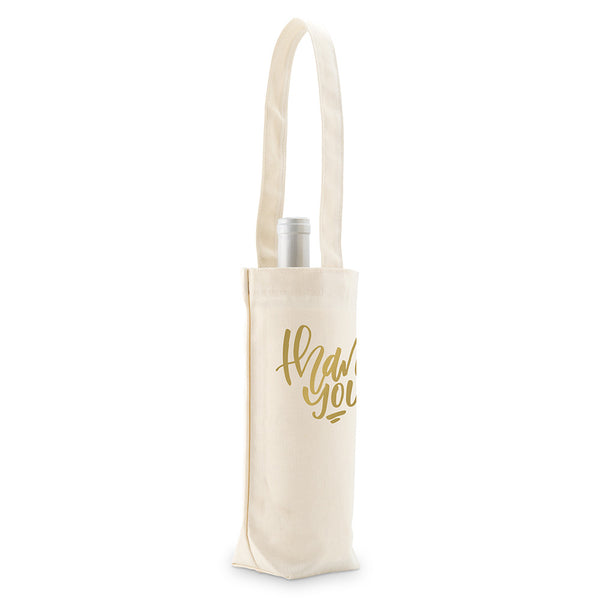 """Thank You"" Wine Tote Bag (Natural/Black)"