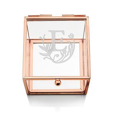 Six Small Personalized Glass Rose Gold Jewelry Boxes (6) - Modern Fairytale Print - Sweet Heart Details