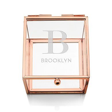 Six Small Personalized Glass Rose Gold Jewelry Boxes (6) - Modern Initial Print - Sweet Heart Details