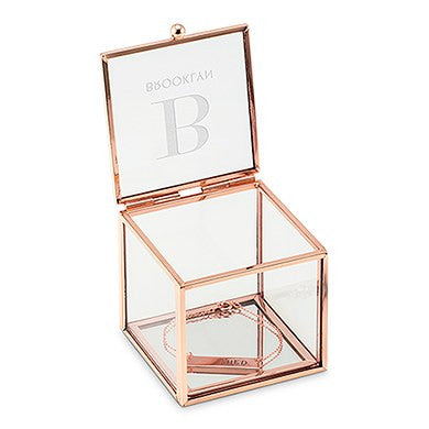 Six Small Personalized Glass Rose Gold Jewelry Boxes (6) - Modern Initial Print-Bridesmaid Gifts-Wedding Star-4589-56-8914-106-Sweet Heart Details