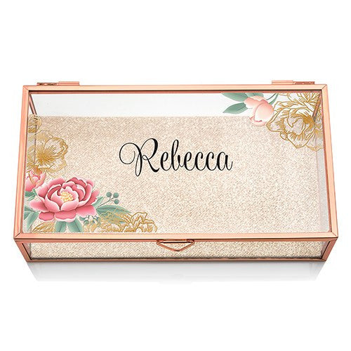 Six Personalized Glass Rose Gold Jewelry Boxes (6) - Floral Print - Sweet Heart Details