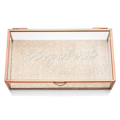 Six Personalized Glass Rose Gold Jewelry Boxes (6) - Calligraphy Print