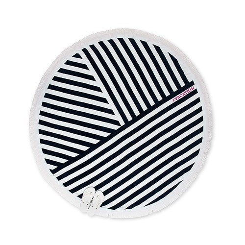 Personalized Navy & White Striped Round Beach Towel
