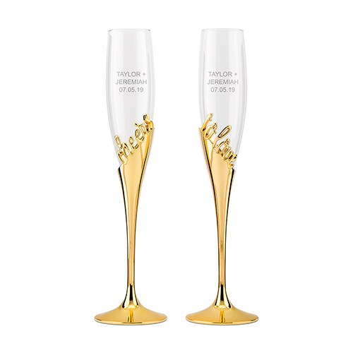 Gold Champagne Glasses - Cheers To Love-Toasting Flutes-Wedding Star-Sweet Heart Details