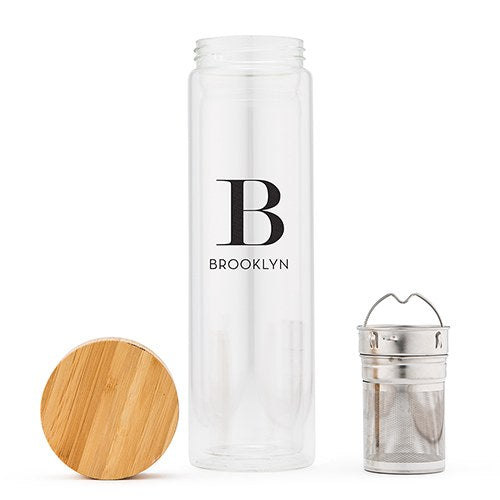 Glass Tea Infuser Travel Cups (3) - Modern Serif Initial Printing - Sweet Heart Details