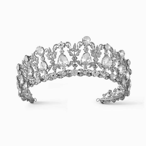 """The Alexandra"" Regal Sparkling Crystal & CZ Tiara - Sweet Heart Details"