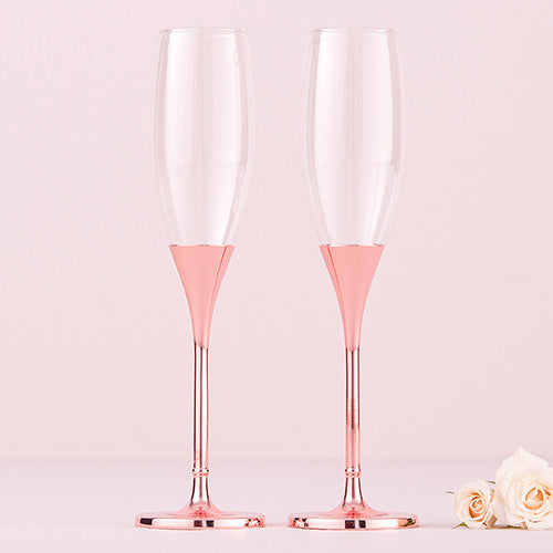 Wedding Champagne Toasting Flutes - Rose Gold Diamond Glitter