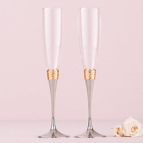 Wedding Champagne Toasting Flutes - Hammered Gold & Polished Silver Design