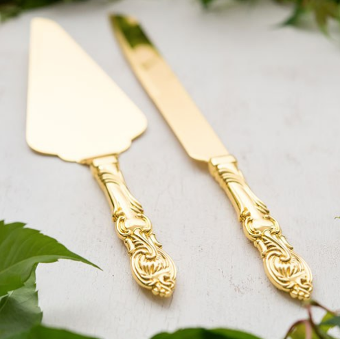 Wedding Cake Serving Set - Classic Gold Romance-Wedding Cake Serving Sets-Wedding Star-6020-55-Sweet Heart Details