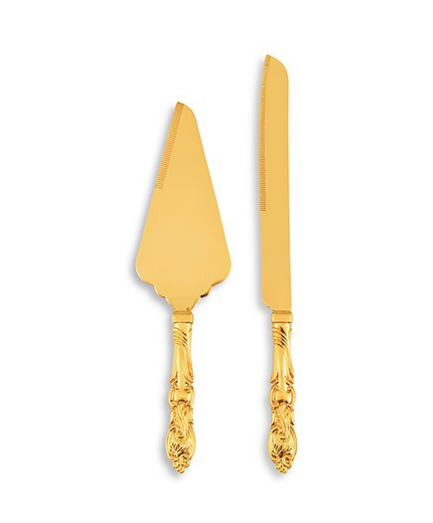 Wedding Cake Serving Set - Classic Gold Romance - Sweet Heart Details