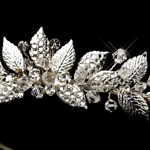 """The Harlow"" Silver Vintage Floral Tiara - Sweet Heart Details"