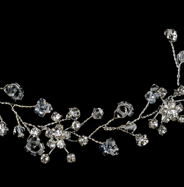 """The Julie"" Clear Crystal Floral Vine Headpiece-Combs & Clips-Wedding Factory-HP-6309-S-CL-Sweet Heart Details"