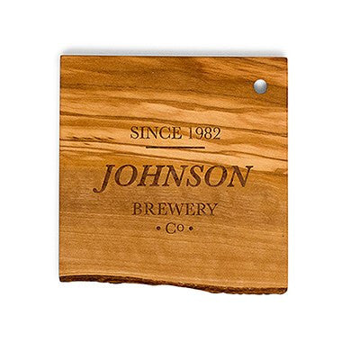 "Personalized ""Brewery Co"" Rustic Olive Wood Coasters"