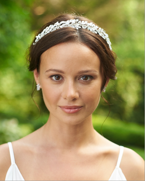 """The Anastasia"" Silver Opal Headband by Dareth Colburn-Tiaras & Headbands-Dareth Colburn-TI-7096-S-Sweet Heart Details"