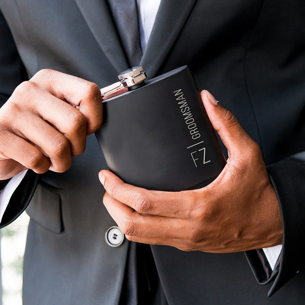 Black Coated Hip Flask - Personalized Vertical Etching-Groomsmen Gifts-Sweet Heart Details