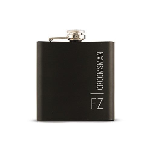 Black Coated Hip Flask - Personalized Vertical Etching