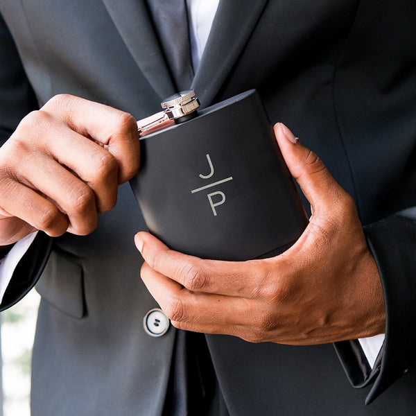 Black Coated Hip Flask - Personalized Stacked Monogram Etching-Groomsmen Gifts-Sweet Heart Details