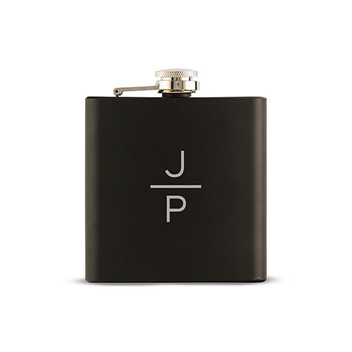 Black Coated Hip Flask - Personalized Stacked Monogram Etching
