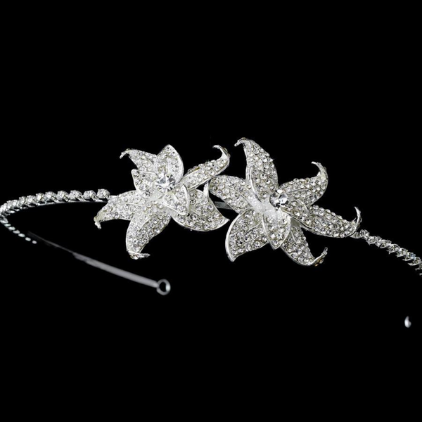 """The Blakely"" Rhinestone Encrusted Floral Headpiece - Sweet Heart Details"