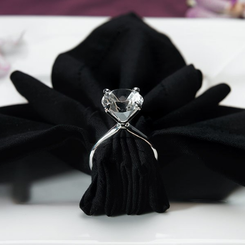 Silver Plated Huge Diamond Napkin Holders - Sweet Heart Details
