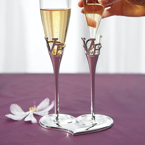 Silver Love Stem Wedding Champagne Glasses & Holders-Toasting Flutes-Wedding Star-Sweet Heart Details