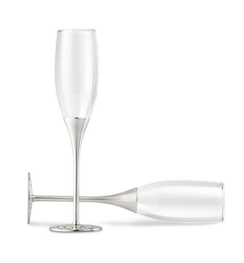 Wedding Champagne Toasting Flutes with Rhinestones - Sweet Heart Details