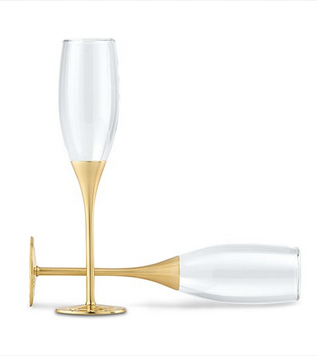Wedding Champagne Toasting Flutes with Rhinestones - Gold/Silver