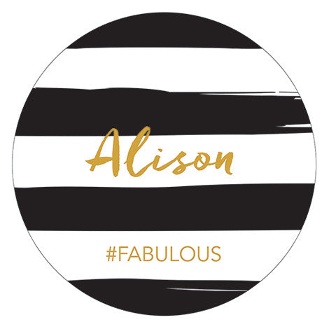 Six Personalized Compact Mirrors (6) - Striped Print w/ Custom Name & Hashtag - Sweet Heart Details