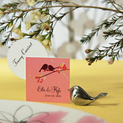 Love Bird Card Holders - Brushed Silver (32)-Placecard Holders-Wedding Star-Sweet Heart Details
