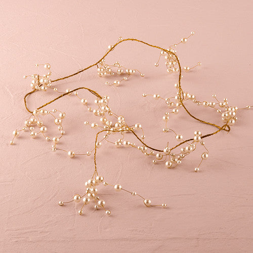 Pearl & Vintage Gold Wire Ornamental Garland (15') - Sweet Heart Details